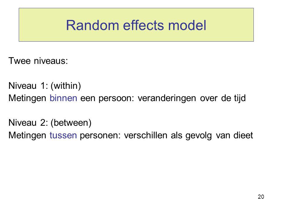 20 Random effects model Twee niveaus: Niveau 1: (within) Metingen binnen een persoon: veranderingen over de tijd Niveau 2: (between) Metingen tussen p