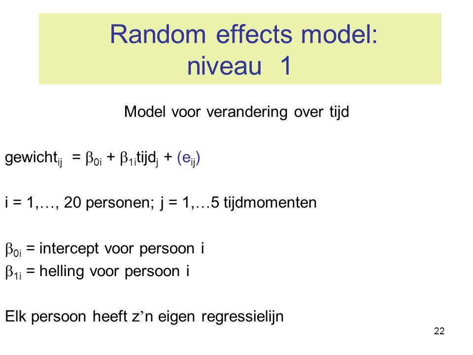 22 Random effects model: niveau 1 Model voor verandering over tijd gewicht ij =  0i +  1i tijd j + (e ij ) i = 1, …, 20 personen; j = 1, … 5 tijdmom