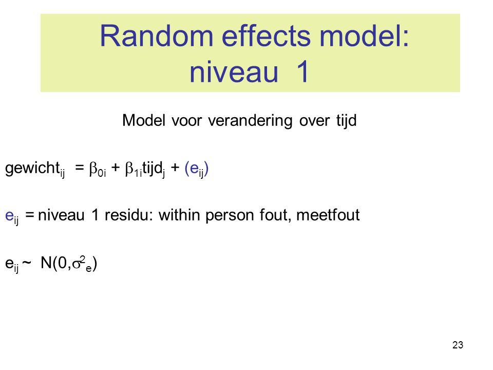 23 Random effects model: niveau 1 Model voor verandering over tijd gewicht ij =  0i +  1i tijd j + (e ij ) e ij = niveau 1 residu: within person fou