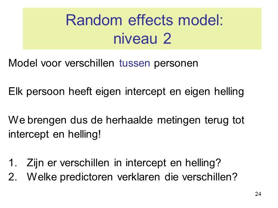 24 Random effects model: niveau 2 Model voor verschillen tussen personen Elk persoon heeft eigen intercept en eigen helling We brengen dus de herhaald
