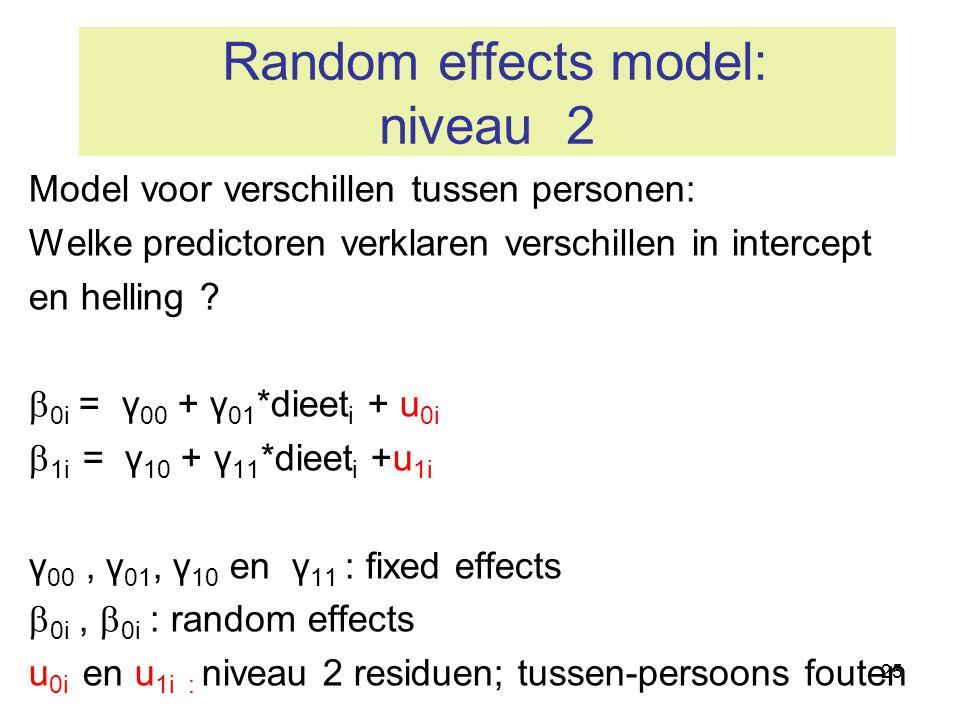 25 Random effects model: niveau 2 Model voor verschillen tussen personen: Welke predictoren verklaren verschillen in intercept en helling ?  0i = γ 0