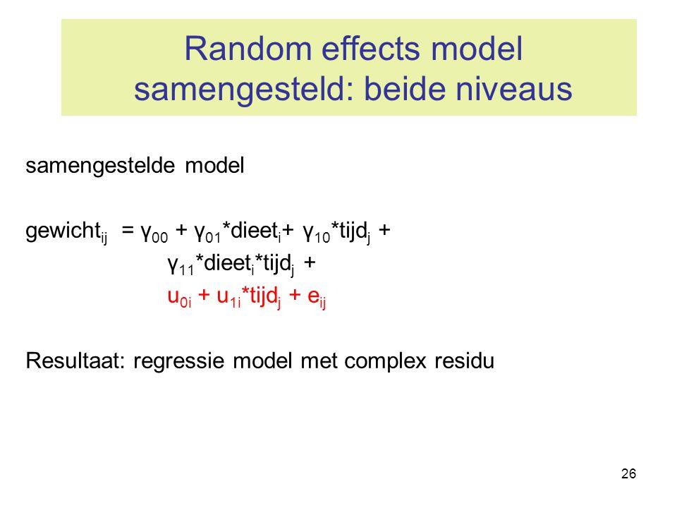 26 Random effects model samengesteld: beide niveaus samengestelde model gewicht ij = γ 00 + γ 01 *dieet i + γ 10 *tijd j + γ 11 *dieet i *tijd j + u 0