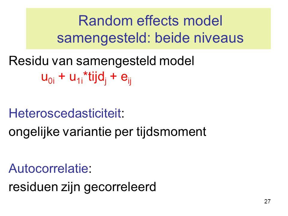 27 Random effects model samengesteld: beide niveaus Residu van samengesteld model u 0i + u 1i *tijd j + e ij Heteroscedasticiteit: ongelijke variantie