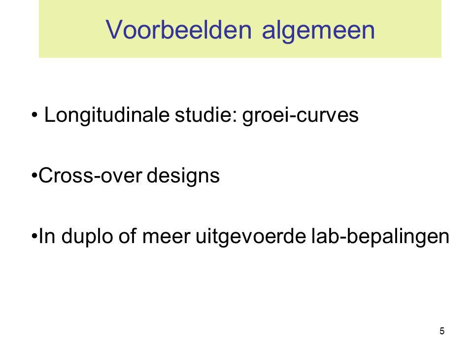 5 Voorbeelden algemeen • Longitudinale studie: groei-curves •Cross-over designs •In duplo of meer uitgevoerde lab-bepalingen