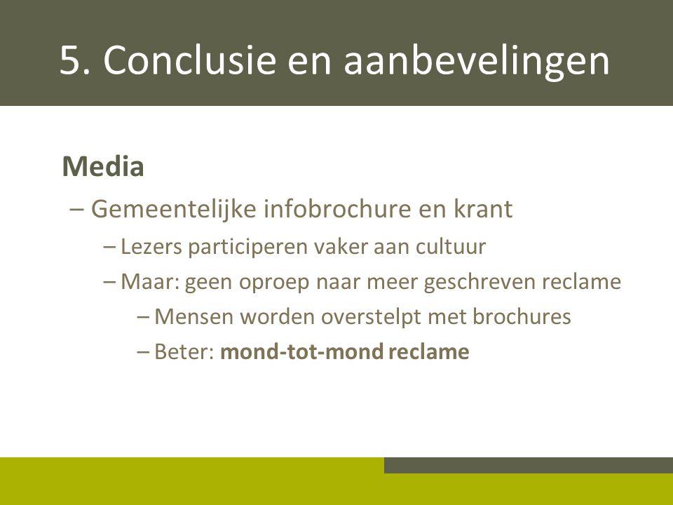 5. Conclusie en aanbevelingen Media –Gemeentelijke infobrochure en krant –Lezers participeren vaker aan cultuur –Maar: geen oproep naar meer geschreve