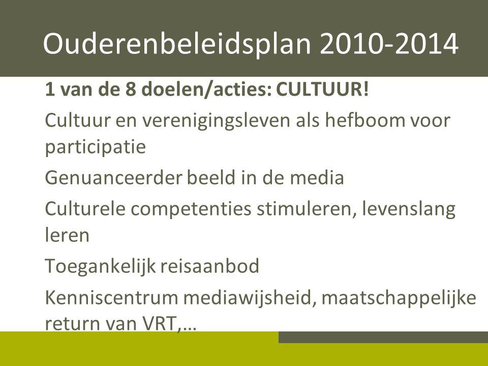 Ouderenbeleidsplan 2010-2014 1 van de 8 doelen/acties: CULTUUR! Cultuur en verenigingsleven als hefboom voor participatie Genuanceerder beeld in de me