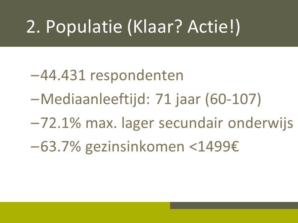 2. Populatie (Klaar? Actie!) –44.431 respondenten –Mediaanleeftijd: 71 jaar (60-107) –72.1% max. lager secundair onderwijs –63.7% gezinsinkomen <1499€
