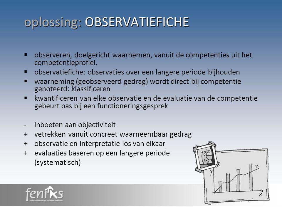 oplossing: OBSERVATIEFICHE  observeren, doelgericht waarnemen, vanuit de competenties uit het competentieprofiel.  observatiefiche: observaties over