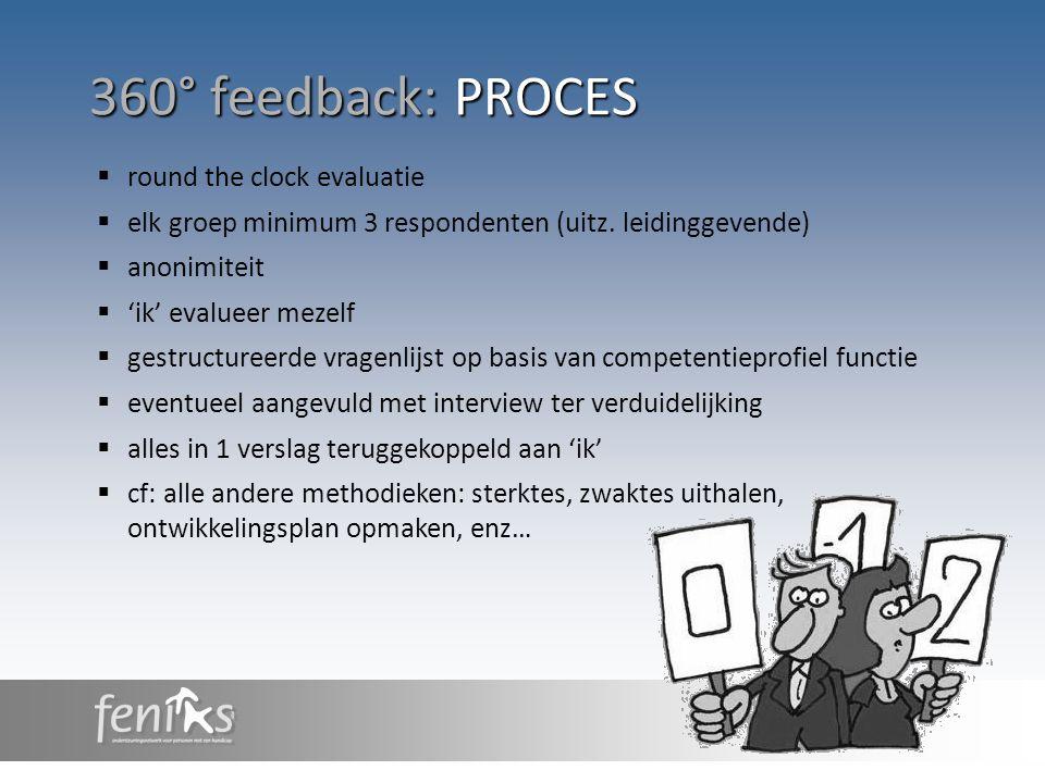 360° feedback: PROCES  round the clock evaluatie  elk groep minimum 3 respondenten (uitz. leidinggevende)  anonimiteit  'ik' evalueer mezelf  ges