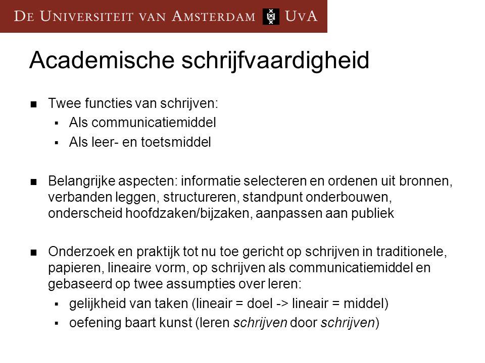 Academische schrijfvaardigheid  Twee functies van schrijven:  Als communicatiemiddel  Als leer- en toetsmiddel  Belangrijke aspecten: informatie s