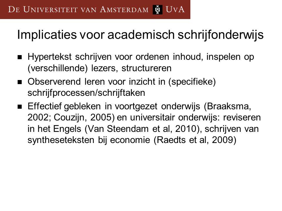 Implicaties voor academisch schrijfonderwijs  Hypertekst schrijven voor ordenen inhoud, inspelen op (verschillende) lezers, structureren  Observerend leren voor inzicht in (specifieke) schrijfprocessen/schrijftaken  Effectief gebleken in voortgezet onderwijs (Braaksma, 2002; Couzijn, 2005) en universitair onderwijs: reviseren in het Engels (Van Steendam et al, 2010), schrijven van syntheseteksten bij economie (Raedts et al, 2009)
