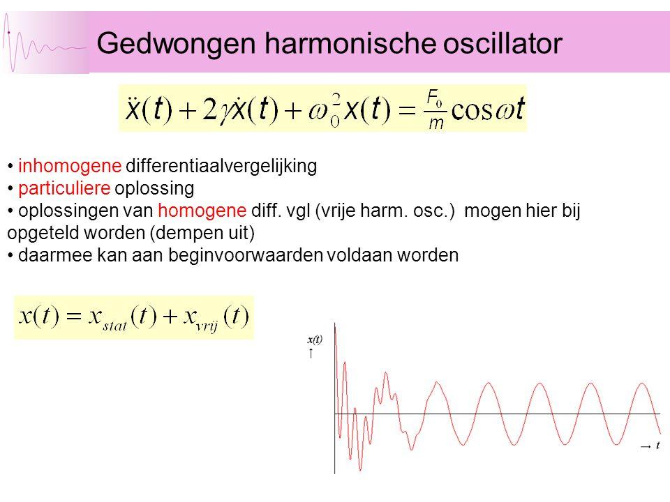 Gedwongen harmonische oscillator • inhomogene differentiaalvergelijking • particuliere oplossing • oplossingen van homogene diff. vgl (vrije harm. osc