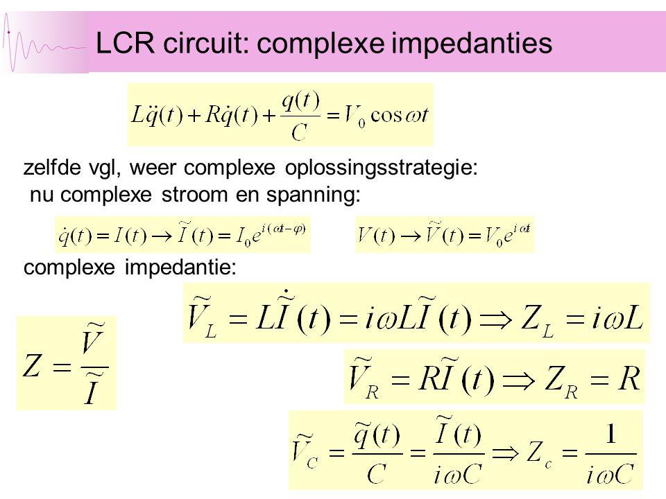 LCR circuit: complexe impedanties zelfde vgl, weer complexe oplossingsstrategie: nu complexe stroom en spanning: complexe impedantie: