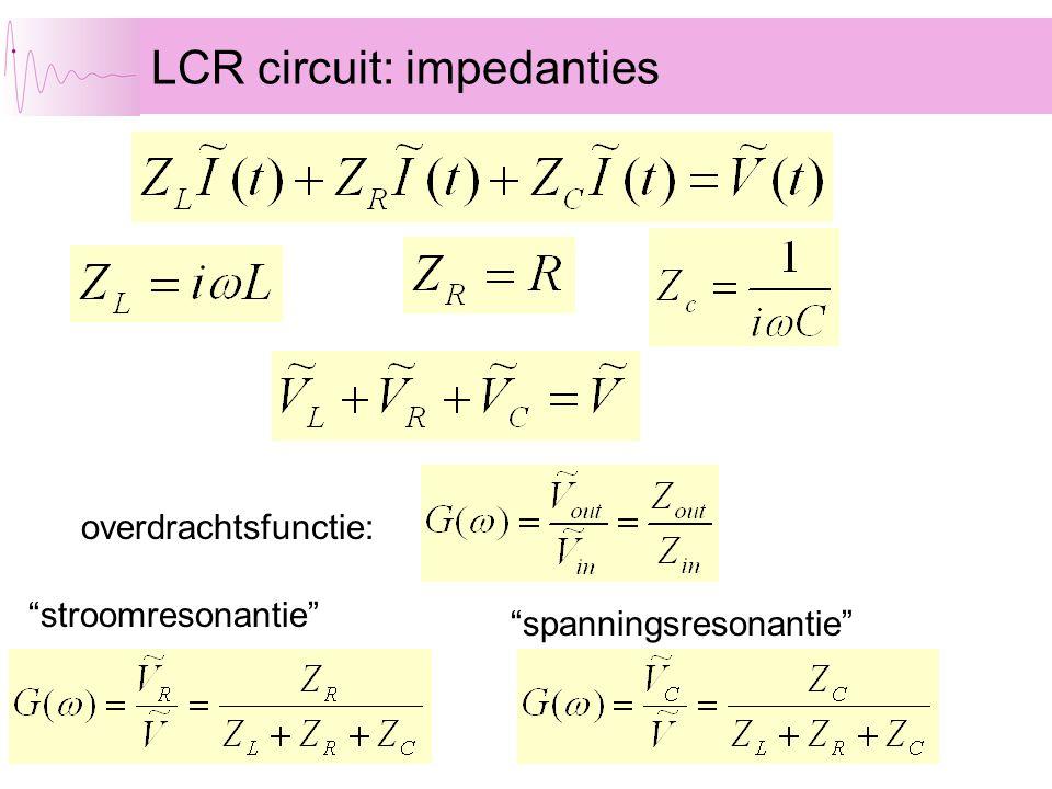 """LCR circuit: impedanties """"stroomresonantie"""" """"spanningsresonantie"""" overdrachtsfunctie:"""