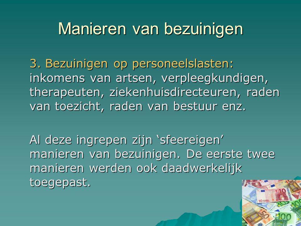 Voorbeeld Per 1-1-2005 uit het pakket: Behandeling tegen snurken Flapoorcorrectie Bovenooglidcorrectie (behalve bij aangeboren aandoeningen) Borstprothese (behalve bij amputatie) Buikwandcorrectie Hersteloperatie na sterilisatie Besnijdenissen Eerder ook: fysiotherapie, langdurige psychotherapie, anticonceptiepil, vruchtbaarheidsbehandelingen.