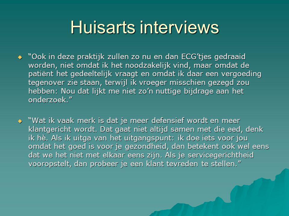 """Huisarts interviews  """"Ook in deze praktijk zullen zo nu en dan ECG'tjes gedraaid worden, niet omdat ik het noodzakelijk vind, maar omdat de patiënt h"""