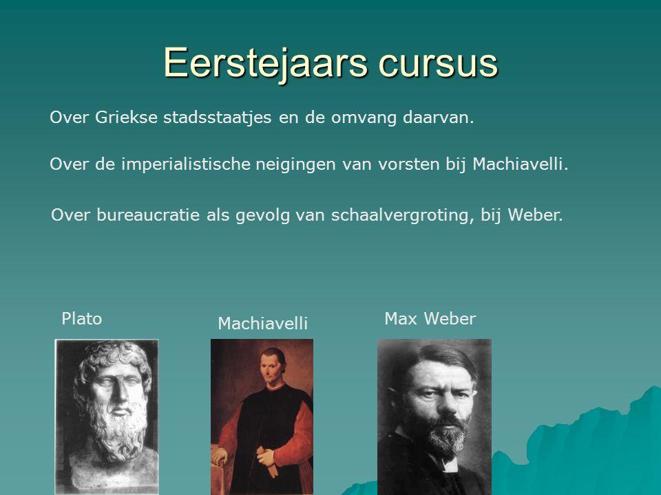 Eerstejaars cursus Plato Machiavelli Max Weber Over Griekse stadsstaatjes en de omvang daarvan. Over de imperialistische neigingen van vorsten bij Mac