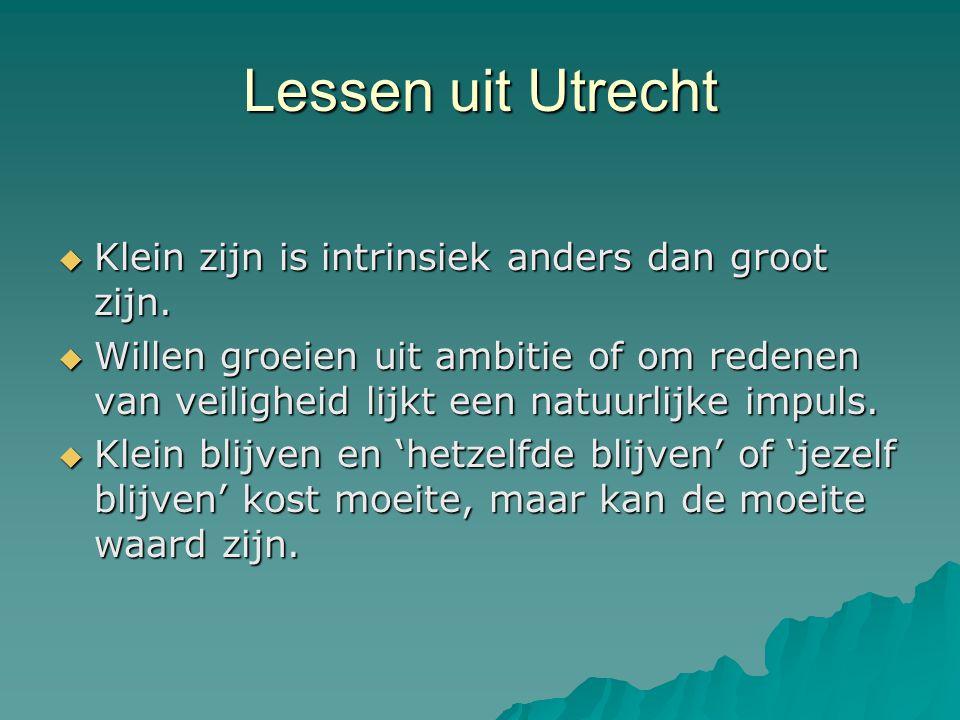 Lessen uit Utrecht  Klein zijn is intrinsiek anders dan groot zijn.  Willen groeien uit ambitie of om redenen van veiligheid lijkt een natuurlijke i