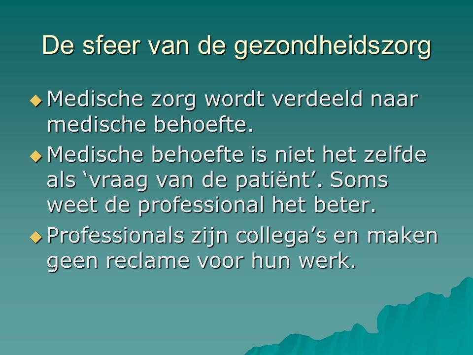 De sfeer van de gezondheidszorg  Medische zorg wordt verdeeld naar medische behoefte.  Medische behoefte is niet het zelfde als 'vraag van de patiën