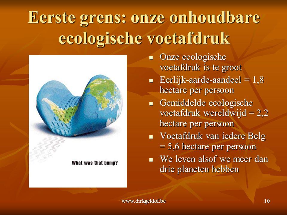 www.dirkgeldof.be10 Eerste grens: onze onhoudbare ecologische voetafdruk  Onze ecologische voetafdruk is te groot  Eerlijk-aarde-aandeel = 1,8 hecta