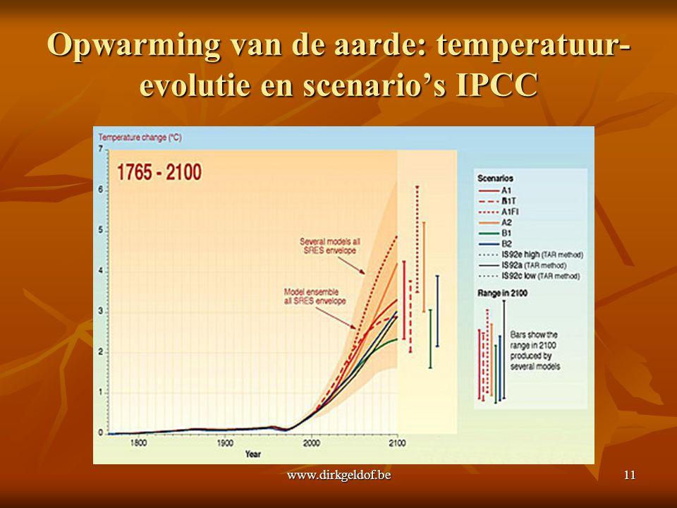 www.dirkgeldof.be11 Opwarming van de aarde: temperatuur- evolutie en scenario's IPCC