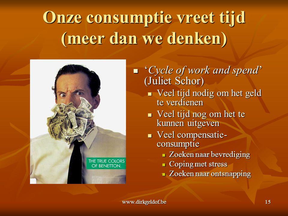 www.dirkgeldof.be15 Onze consumptie vreet tijd (meer dan we denken)  'Cycle of work and spend' (Juliet Schor)  Veel tijd nodig om het geld te verdie