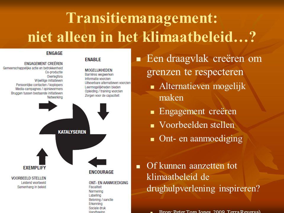 Transitiemanagement: niet alleen in het klimaatbeleid…?   Een draagvlak creëren om grenzen te respecteren  Alternatieven mogelijk maken  Engagemen