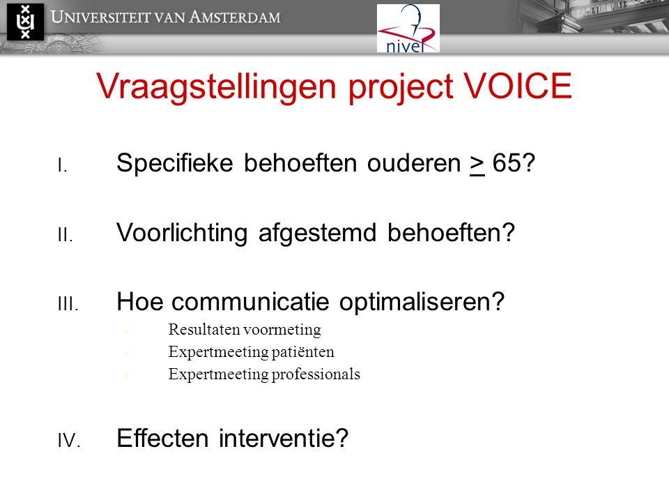 Vraagstellingen project VOICE I. Specifieke behoeften ouderen > 65? II. Voorlichting afgestemd behoeften? III. Hoe communicatie optimaliseren?  Resul