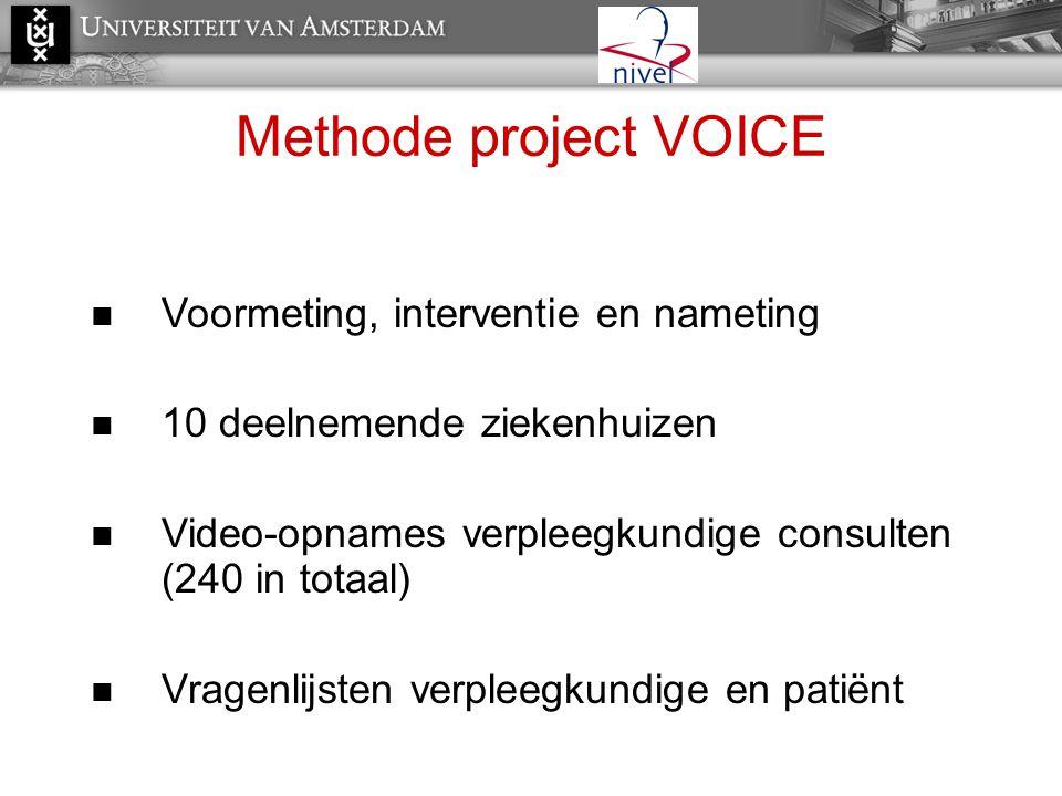 Methode project VOICE  Voormeting, interventie en nameting  10 deelnemende ziekenhuizen  Video-opnames verpleegkundige consulten (240 in totaal) 