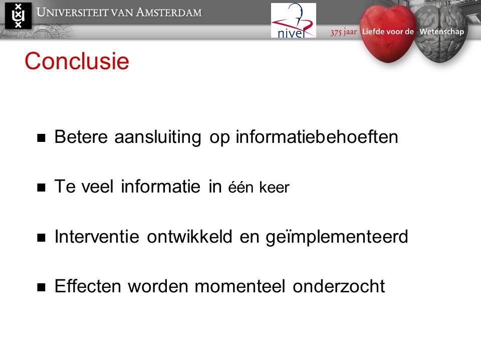 Conclusie  Betere aansluiting op informatiebehoeften  Te veel informatie in één keer  Interventie ontwikkeld en geïmplementeerd  Effecten worden m