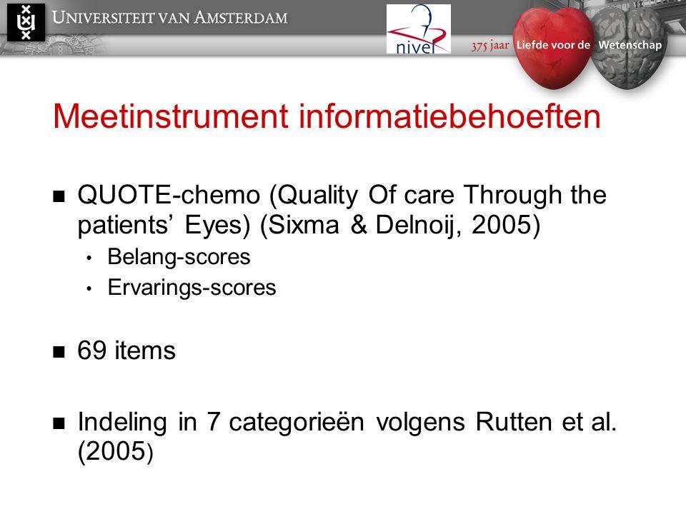 Meetinstrument informatiebehoeften  QUOTE-chemo (Quality Of care Through the patients' Eyes) (Sixma & Delnoij, 2005) • Belang-scores • Ervarings-scor