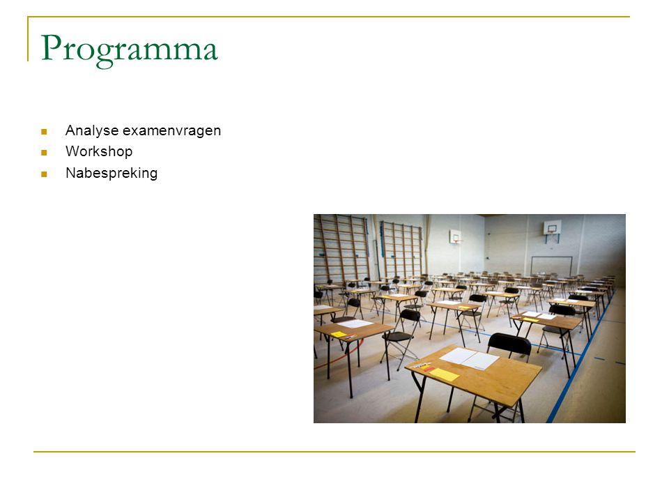 Programma  Analyse examenvragen  Workshop  Nabespreking