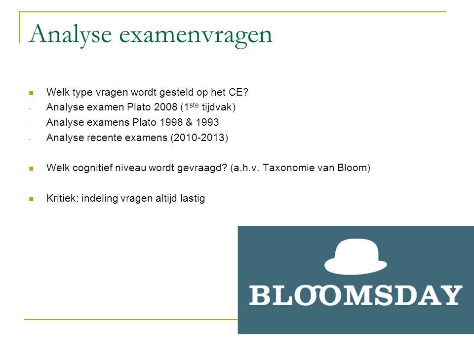 Analyse examenvragen  Welk type vragen wordt gesteld op het CE? - Analyse examen Plato 2008 (1 ste tijdvak) - Analyse examens Plato 1998 & 1993 - Ana
