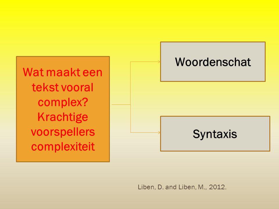 Wat maakt een tekst vooral complex? Krachtige voorspellers complexiteit Woordenschat Syntaxis Liben, D. and Liben, M., 2012.