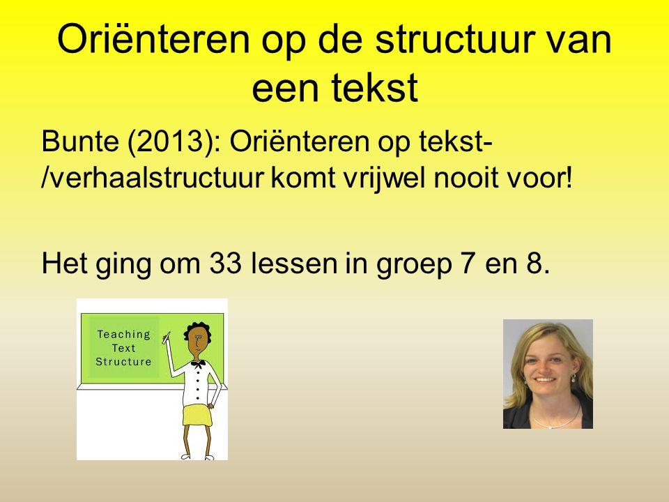 Oriënteren op de structuur van een tekst Bunte (2013): Oriënteren op tekst- /verhaalstructuur komt vrijwel nooit voor! Het ging om 33 lessen in groep