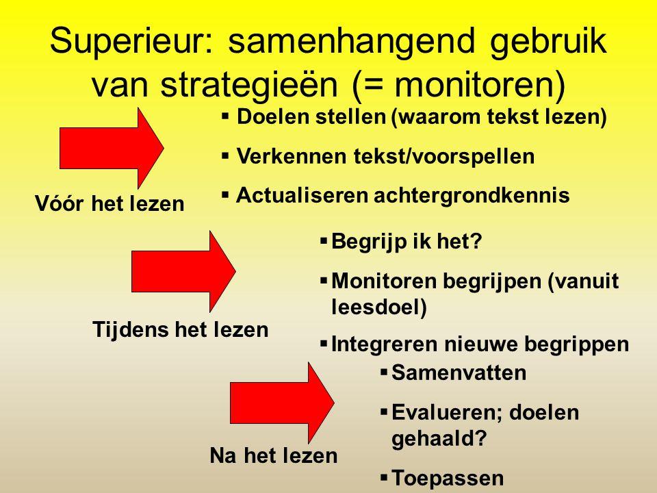 Superieur: samenhangend gebruik van strategieën (= monitoren)  Doelen stellen (waarom tekst lezen)  Verkennen tekst/voorspellen  Actualiseren achte