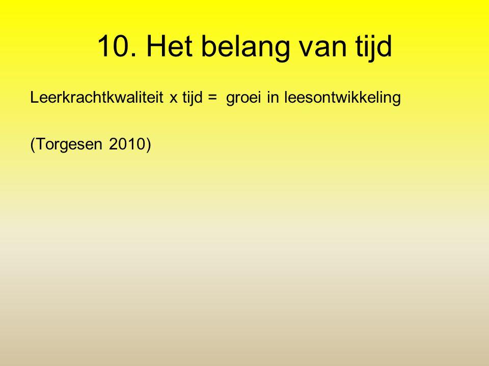 10. Het belang van tijd Leerkrachtkwaliteit x tijd = groei in leesontwikkeling (Torgesen 2010)