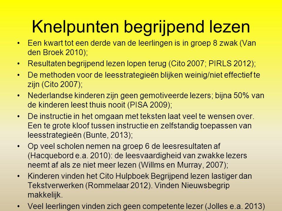 Knelpunten begrijpend lezen •Een kwart tot een derde van de leerlingen is in groep 8 zwak (Van den Broek 2010); •Resultaten begrijpend lezen lopen ter