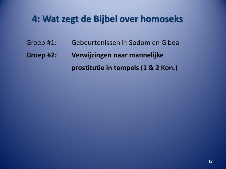 4: Wat zegt de Bijbel over homoseks Groep #1: Gebeurtenissen in Sodom en Gibea Groep #2: Verwijzingen naar mannelijke prostitutie in tempels (1 & 2 Ko