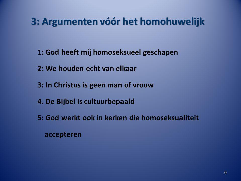 3: Argumenten vóór het homohuwelijk 1: God heeft mij homoseksueel geschapen 2: We houden echt van elkaar 3: In Christus is geen man of vrouw 4. De Bij