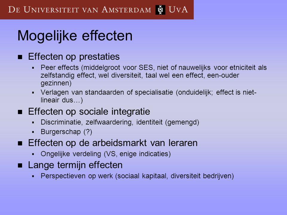Mogelijke effecten  Effecten op prestaties  Peer effects (middelgroot voor SES, niet of nauwelijks voor etniciteit als zelfstandig effect, wel diver
