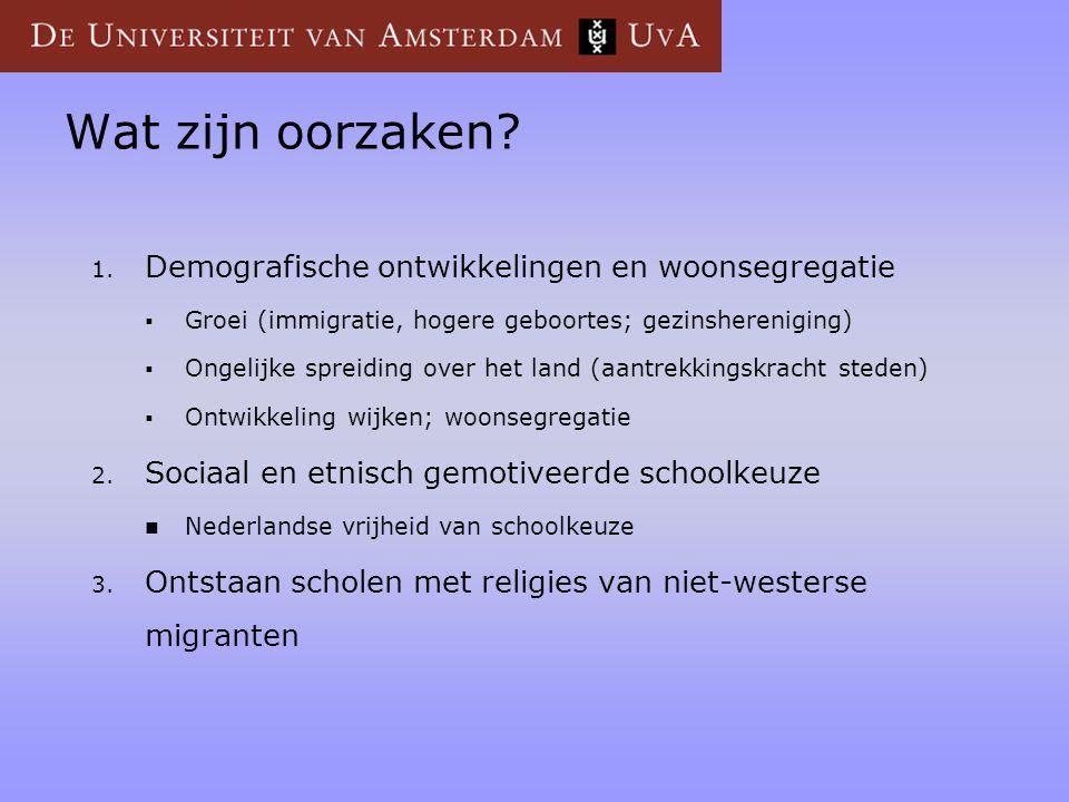 Wat zijn oorzaken? 1. Demografische ontwikkelingen en woonsegregatie  Groei (immigratie, hogere geboortes; gezinshereniging)  Ongelijke spreiding ov