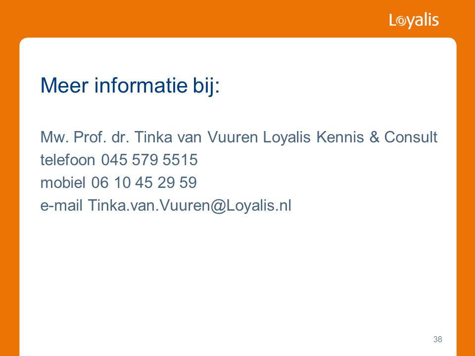 Meer informatie bij: Mw. Prof. dr. Tinka van Vuuren Loyalis Kennis & Consult telefoon 045 579 5515 mobiel 06 10 45 29 59 e-mail Tinka.van.Vuuren@Loyal