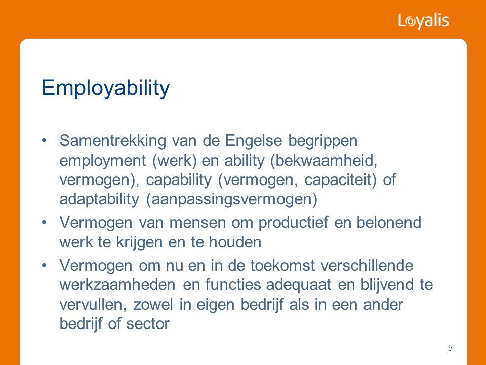 Employability •Samentrekking van de Engelse begrippen employment (werk) en ability (bekwaamheid, vermogen), capability (vermogen, capaciteit) of adapt