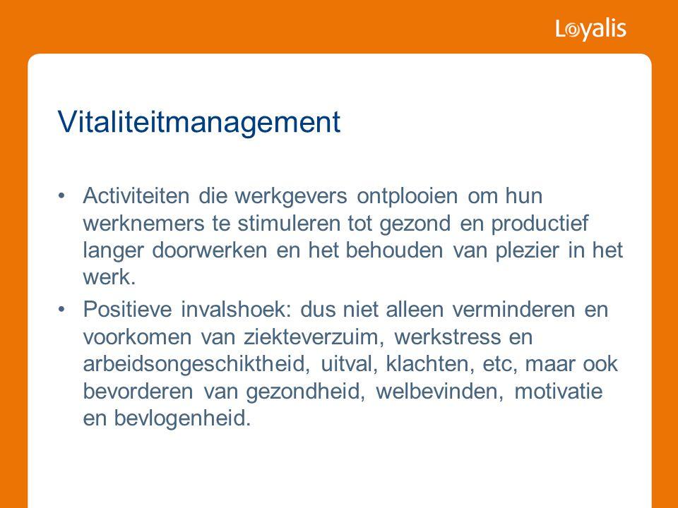 Vitaliteitmanagement •Activiteiten die werkgevers ontplooien om hun werknemers te stimuleren tot gezond en productief langer doorwerken en het behoude