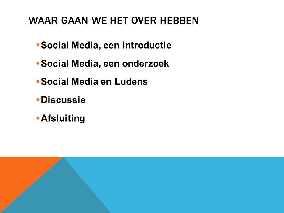 WAAR GAAN WE HET OVER HEBBEN  Social Media, een introductie  Social Media, een onderzoek  Social Media en Ludens  Discussie  Afsluiting