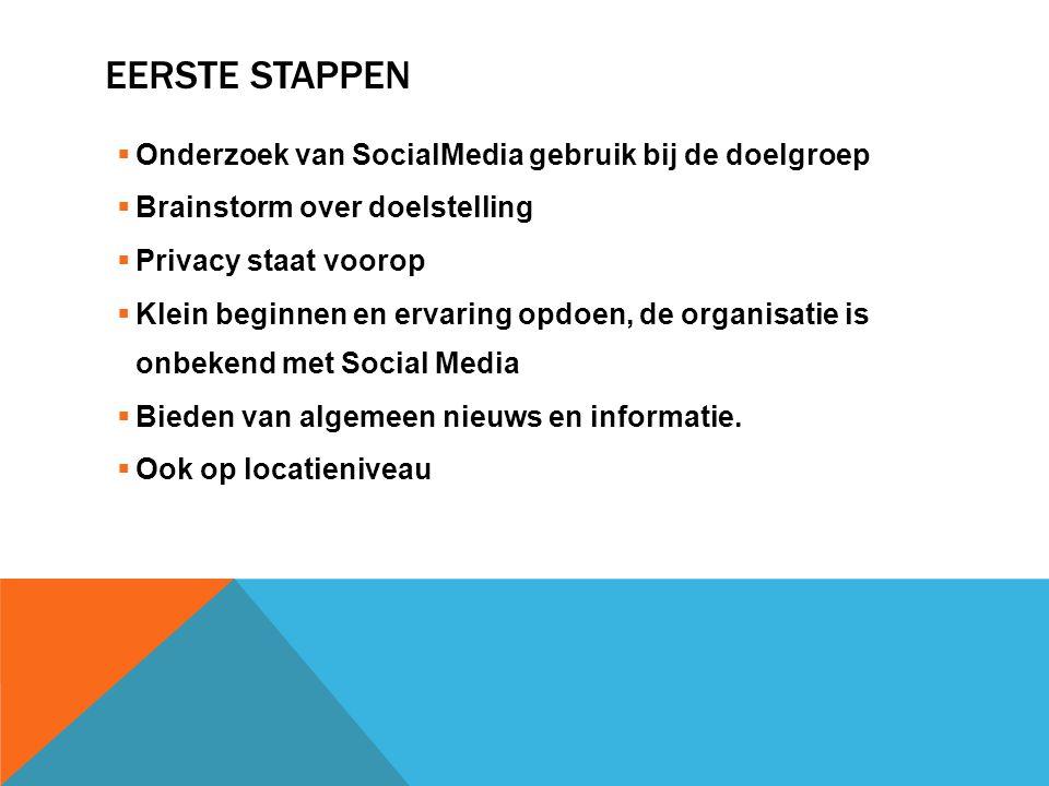 EERSTE STAPPEN  Onderzoek van SocialMedia gebruik bij de doelgroep  Brainstorm over doelstelling  Privacy staat voorop  Klein beginnen en ervaring opdoen, de organisatie is onbekend met Social Media  Bieden van algemeen nieuws en informatie.