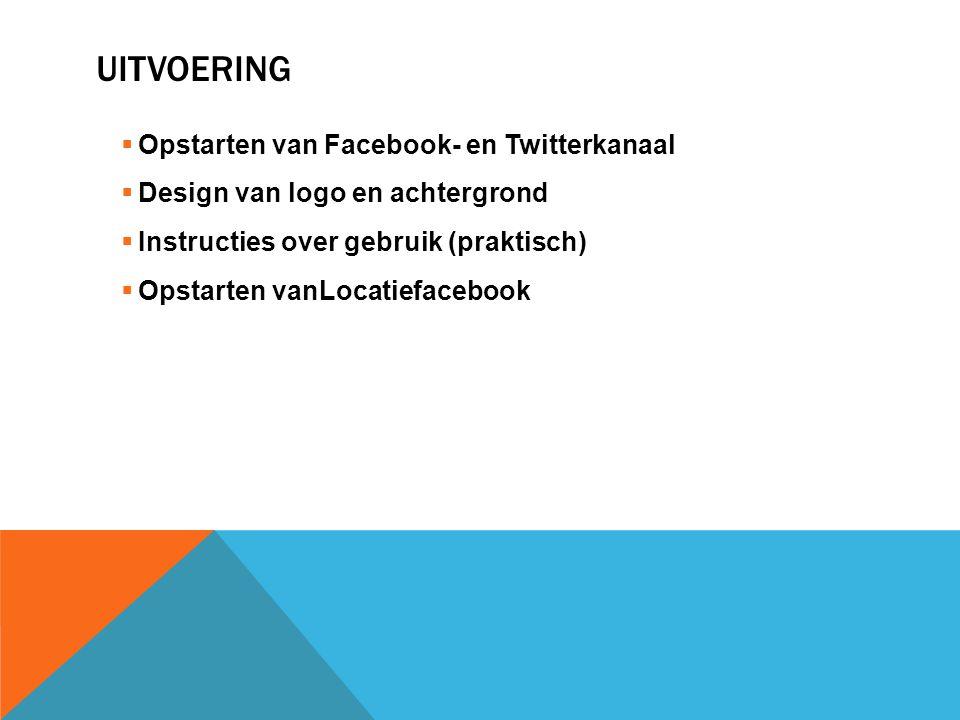 UITVOERING  Opstarten van Facebook- en Twitterkanaal  Design van logo en achtergrond  Instructies over gebruik (praktisch)  Opstarten vanLocatiefacebook
