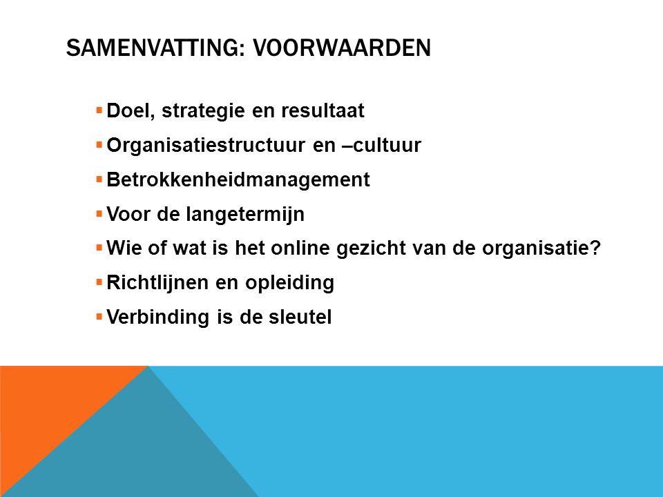 SAMENVATTING: VOORWAARDEN  Doel, strategie en resultaat  Organisatiestructuur en –cultuur  Betrokkenheidmanagement  Voor de langetermijn  Wie of wat is het online gezicht van de organisatie.