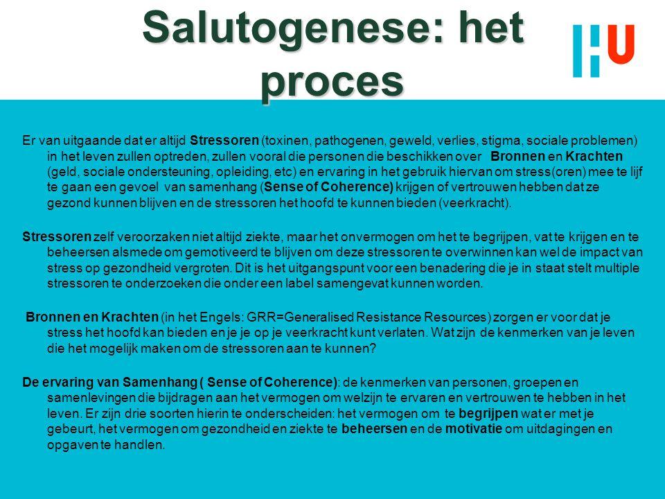 Salutogenese: het proces Er van uitgaande dat er altijd Stressoren (toxinen, pathogenen, geweld, verlies, stigma, sociale problemen) in het leven zull